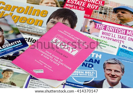 LONDON, UK - MAY 1, 2016:  Election leaflets publicising candidates for the Mayor of London election.  Candidates include Sadique Khan, Zac Goldsmith, Caroline Pidgeon and Sian Berry. - stock photo