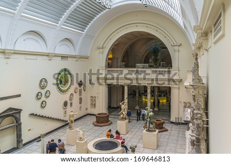 LONDON, UK - MAY 28, 2013: Interior view of Victoria and Albert Museum (1852). Victoria and Albert Museum - world's largest museum of decorative arts and design. Kensington, London. - stock photo