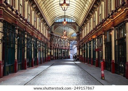 LONDON, UK - MAY 13, 2012: Leadenhall market in London. It is one of the oldest markets in London, dating back to the 14th century. - stock photo