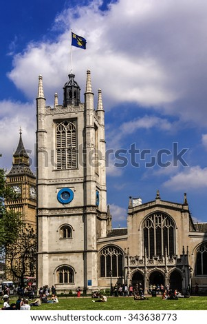 LONDON, UK - MAY 31, 2013: Outside view of Anglican Church of St. Margaret (founded 12th Century, rebuilt in 1523) is situated in the grounds of Westminster Abbey on Parliament Square. - stock photo