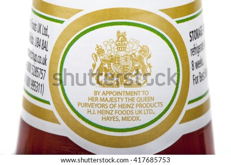 LONDON, UK - MAY 6TH 2016: The Royal Warrant of Appointment on a jar of Heinz Ketchup, on 6th May 2016.  Businesses who supply goods or services to Royal personages are allowed to display this crest.  - stock photo
