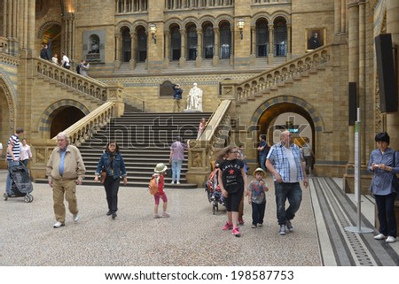 LONDON, UK - MAY 31, 2014: The interior of the Natural History Museum in London, The museum is home to life and earth science specimens comprising some 70 million items within five main collections. - stock photo