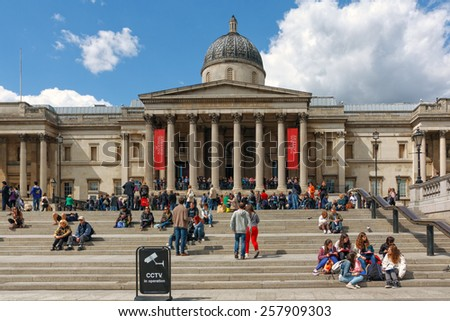 LONDON, UK - 12 May, 2014: The National Gallery in Trafalgar Square in London. The National Gallery houses a collection of over 2,300 paintings. - stock photo