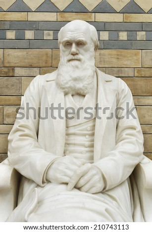 LONDON, UK - MAY 31, 2014: The Statue of Charles Darwin in the Natural History Museum, the statue was moved into its new position at the top of the main staircase in the Central Hall in May 2008. - stock photo