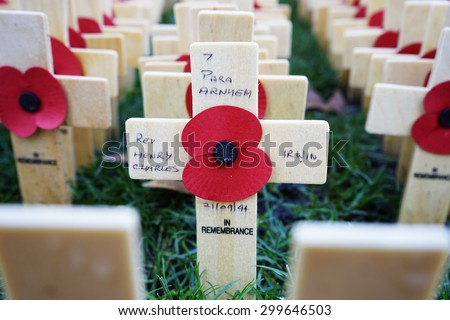 LONDON, UK - NOV 9: Poppies at the Westminster Abbey Garden of Remembrance, on Nov 9, 2014, London UK, to remember armed forces who have died since First World War.  - stock photo