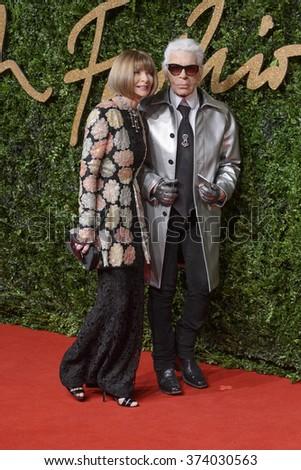 LONDON, UK - NOVEMBER 23, 2015: Anna Wintour & Karl Lagerfeld at the British Fashion Awards 2015 at the Coliseum Theatre, London. November 23, 2015  London, UK Picture: Dave Norton / Featureflash - stock photo
