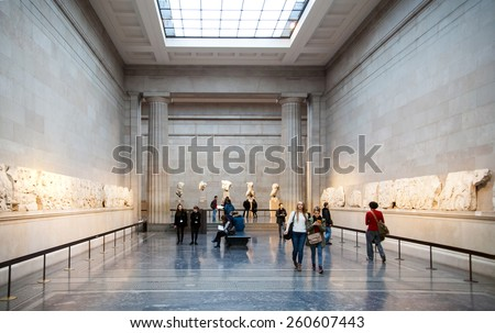 LONDON, UK - NOVEMBER 30, 2014: British museum exhibition hall. Ancient Greek collection of Pantheon  - stock photo