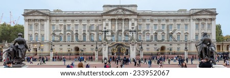 LONDON, UK - OCTOBER 16, 2014: Buckingham Palace the official residence of Queen Elizabeth II and one of the major tourist destinations U.K. - stock photo