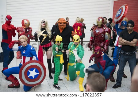 LONDON, UK - OCTOBER 27: Marvel superheroes posing at the London Comicon MCM Expo. Most participants dress up as superheroes to compete in the Euro Cosplay Championship. October 27, 2012 in London. - stock photo