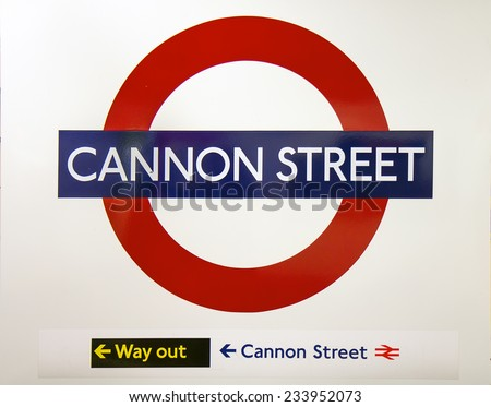 LONDON, UK - OCTOBER 17, 2014: Metro station sign Cannon street on the District and Circle line in London, UK, October 17, 2014.  - stock photo