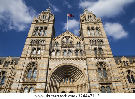 LONDON, UK - OCTOBER 1ST 2015: The exterior of the Natural History Museum in London, on 1st October 2015. - stock photo