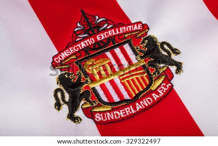 LONDON, UK - OCTOBER 19TH 2015: The club crest on a Sunderland FC shirt, on 19th October 2015. - stock photo