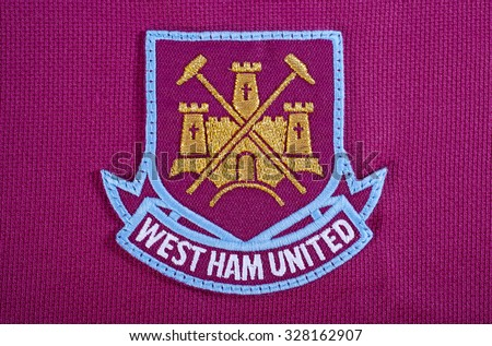 LONDON, UK - OCTOBER 15TH 2015: The club crest on a West Ham United FC shirt, on 15th October 2015. - stock photo