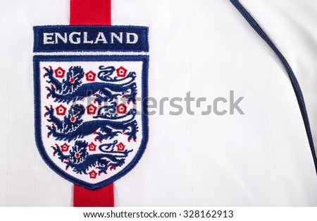 LONDON, UK - OCTOBER 15TH 2015: The Three Lions on an England football shirt, on 15th October 2015. - stock photo