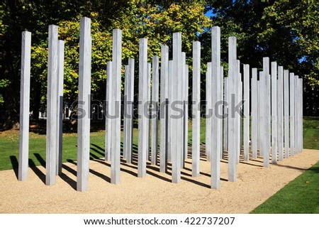 London, UK -  October 2, 2011: The July 7th Memorial in Hyde Park, dedicated to the 52 victims of the 7/7 London bombings terrorism attack in 2005 - stock photo