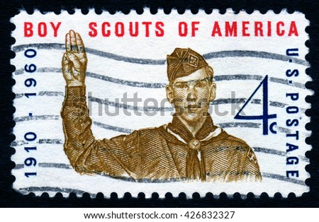 London, UK, October 27 2007 â?? United States of America 1960 vintage cancelled postage stamp commemorating the 50th anniversary of the Boy Scouts Of America - stock photo
