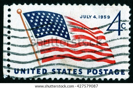 London, UK, October 12 2007 - Vintage 1959 United States of America cancelled postage stamp commemorating July 4th Independence Day - stock photo