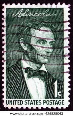 London, UK, October 27 2007 - Vintage 1958 United States of America cancelled postage stamp showing a portrait of Abraham Lincoln - stock photo