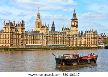 London, UK - Palace of Westminster with Big Ben clock tower. - stock photo