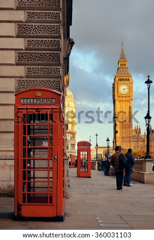 LONDON, UK - SEP 27: Street view with Big Ben and telephone box on September 27, 2013 in London, UK. London is the world's most visited city and the capital of UK. - stock photo