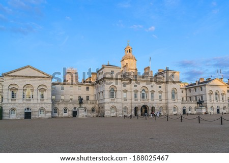 LONDON, UK - SEPTEMBER 1, 2013: Horse Guards building at sunset. It was built 1751 -1753 between Whitehall and Horse Guards Parade in Palladian style by John Vardy and designed by William Kent. - stock photo