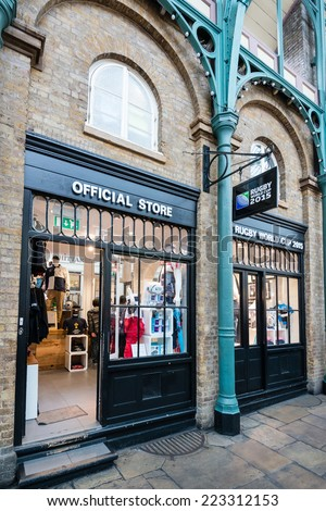 LONDON, UK - SEPTEMBER 26, 2014: Official Store of the Rugby World Cup 2015 in England located in beautiful Covent Garden market on September 26, 2014 in London, UK. - stock photo