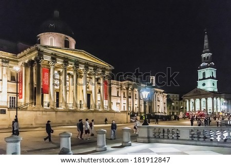 LONDON, UK � SEPTEMBER 1, 2013: The National Gallery at night. The Gallery houses a rich collection of over 2,300 paintings dating from the 13th to 19th century in its home on Trafalgar Square. - stock photo