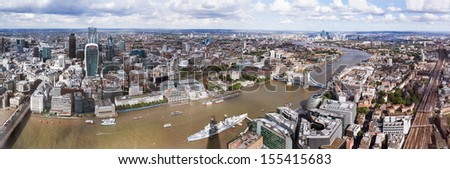 LONDON, UK - SEPTEMBER 2013: The view from the Shard.  The Shard is the tallest building in Europe and the viewing platform on the 68th floor offers a great panoramic view of the city of London. - stock photo