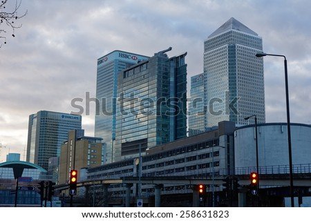 LONDON, UK - 1st MARCH 2015:  Canary Wharf skyscrapers in London - stock photo
