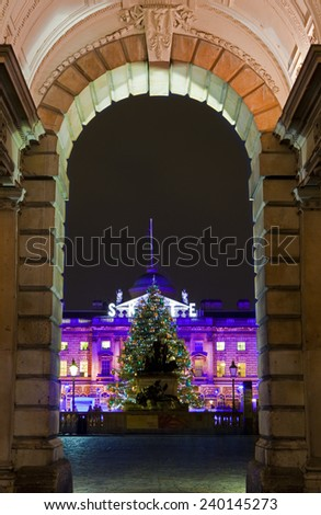 LONDON, UK - 6TH DECEMBER 2014: The beautiful Somerset House in London on 6th December 2014. - stock photo