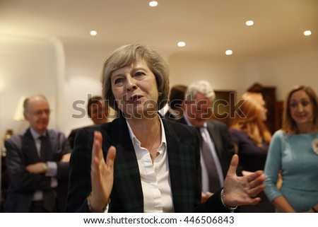 London, UK, 30th June, 2016. Theresa May gives a talk on the Brexit and local matters to the Hampstead and Kilburn Conservative Association - stock photo