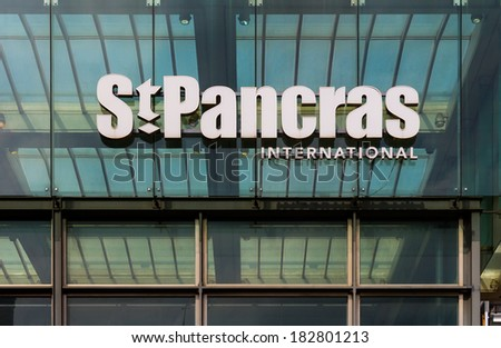 LONDON, UK -  20TH MARCH 2014: A sign for St Pancras International station in London - stock photo