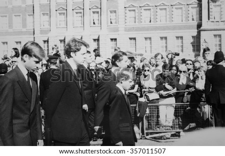London, UK. 6th September 1997. Editorial - The funeral of Diana, Princess of Wales. Walking behind the coffin are Prince Charles, Princes William & Harry and Earl Charles Spencer. Original 35mm photo - stock photo
