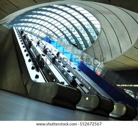 London underground/elevators/Canary Wharf - stock photo