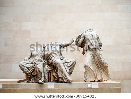 LONDON, UNITED KINGDOM - APRIL 10, 2015: headless Greek sculpture in The British Museum. The museum was established in 1753. The museum received a record 6.7 million visitors in 2013. - stock photo
