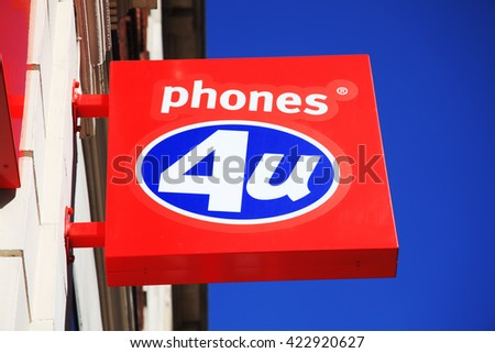 London, United Kingdom, April 1, 2012 : Phones 4U logo advertising sign on one of its branch retail outlets in Oxford Street - stock photo