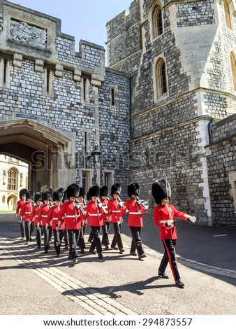 LONDON, UNITED KINGDOM - APRIL 19, 2015: Royal Guard in Windsor palace. The Royal Guard are mounted at the royal residences that under the British Army's London District. - stock photo