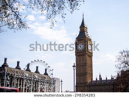 LONDON, UNITED KINGDOM - APRIL 16, 2015: The most famous London landmark Big Ben with blue sky. London is the world's most-visited city as measured by international arrivals. - stock photo