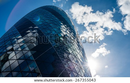 London, United Kingdom - August 21, 2014: Skyscrapers in the City of London in summer. Modern Office Buildings, London. - stock photo