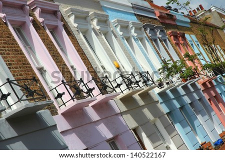 London, United Kingdom - colorful houses in Camden Town district. - stock photo