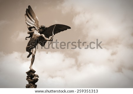 London, United Kingdom - famous Eros statue at Piccadilly Circus - stock photo