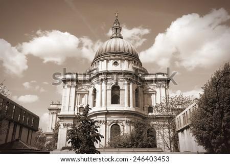 London, United Kingdom - famous St. Paul's Cathedral church. Sepia tone - filtered retro style monochrome photo. - stock photo