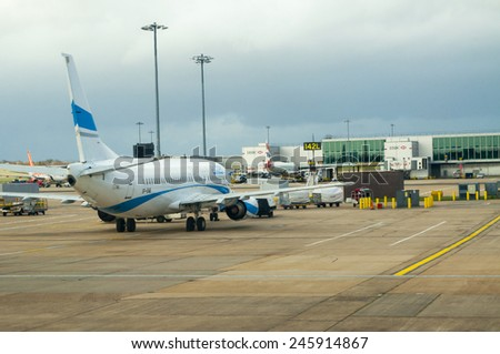 LONDON, UNITED KINGDOM - FEBRUARY 15, 2014:  Plane in the Gatwick Airport in London on February 15, 2014, UK - stock photo