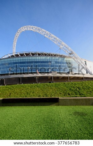 London, United Kingdom-February16, 2016:Wembley Stadium is opened in 207 on the site of Empire Stadium. With 90 000 seats it is largest stadium in UK. - stock photo