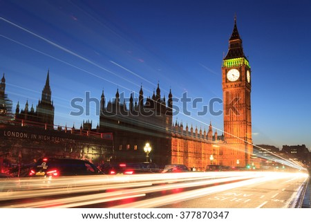 LONDON, UNITED KINGDOM 22 JANUARY 2016: Big Ben and house of parliament at twilight, London, UK - stock photo
