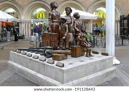 LONDON, UNITED KINGDOM - JANUARY 10: Kindertransport memorial in London on JANUARY 10, 2010. Kindertransport memorial at Liverpool street station in London, United Kingdom. - stock photo