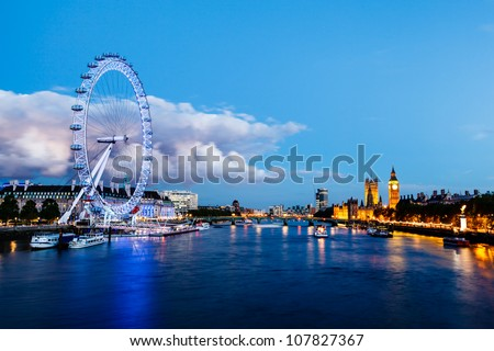LONDON, UNITED KINGDOM - JUNE 9: London Eye on June 9, 2012 in London, United Kingdom is the tallest Ferris wheel in Europe at 135 meters - stock photo