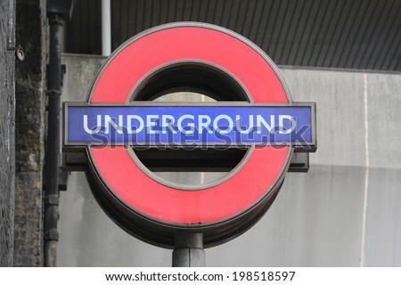 LONDON, UNITED KINGDOM - JUNE 4: Underground sign June 4, 2013 in London, United Kingdome - stock photo