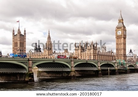 LONDON, UNITED KINGDOM - MARCH 24: The Elizabeth Tower on March 24, 2014 in London. The Clock Tower, named in tribute to Queen Elizabeth II in her Diamond Jubilee, also known as Big Ben. - stock photo