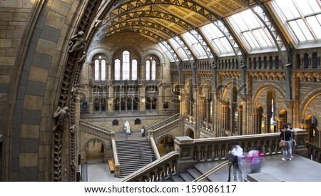 LONDON, UNITED KINGDOM - OCT 09: Interior view of Natural History Museum on october 09, 2013 in London, UK. The museum'Â?Â?s collections comprise almost 70 million specimens from all parts of the world. - stock photo